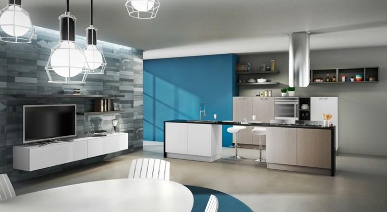 imagenes cocinas plano abierto pared azul ideas