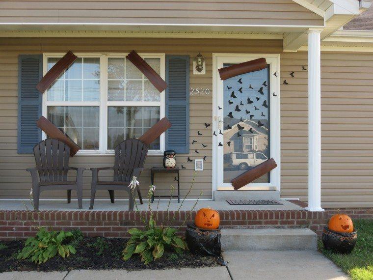 imagenes de halloween decoracion puerta cristal murcielagos ideas