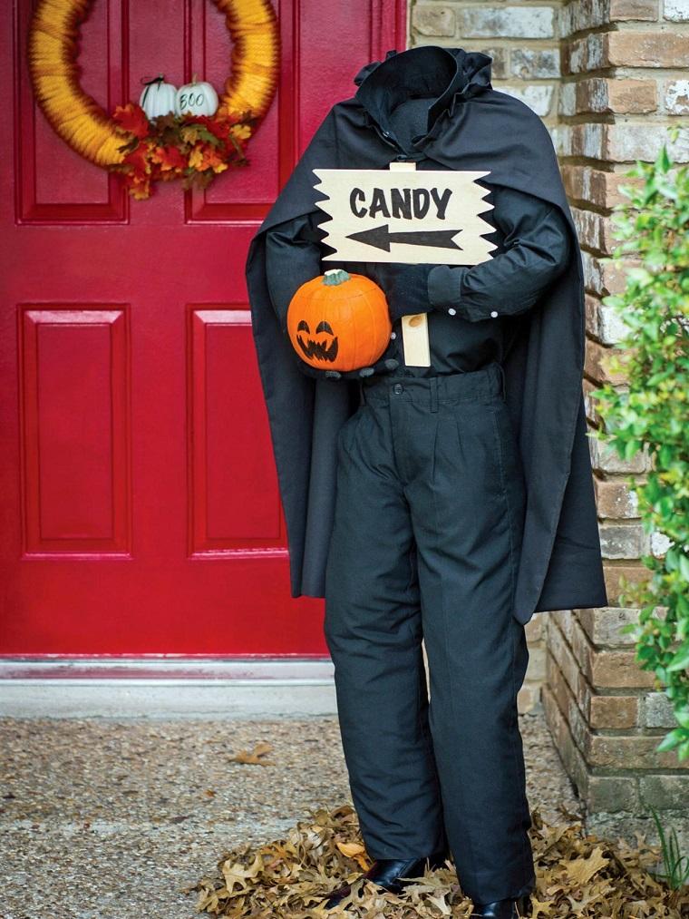 imagenes de halloween decoracion puerta hombre sin cabeza ideas