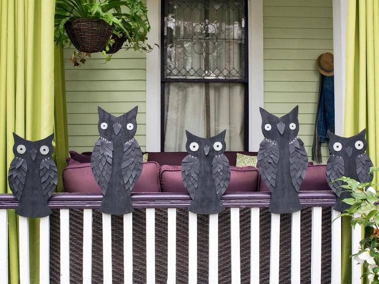 imagenes de halloween decoracion puerta miedo buhos negros ideas