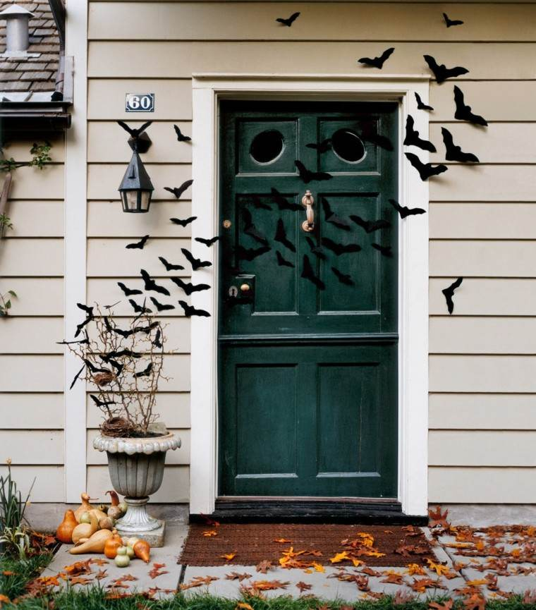 murcielagos decorar puerta de casa en halloween
