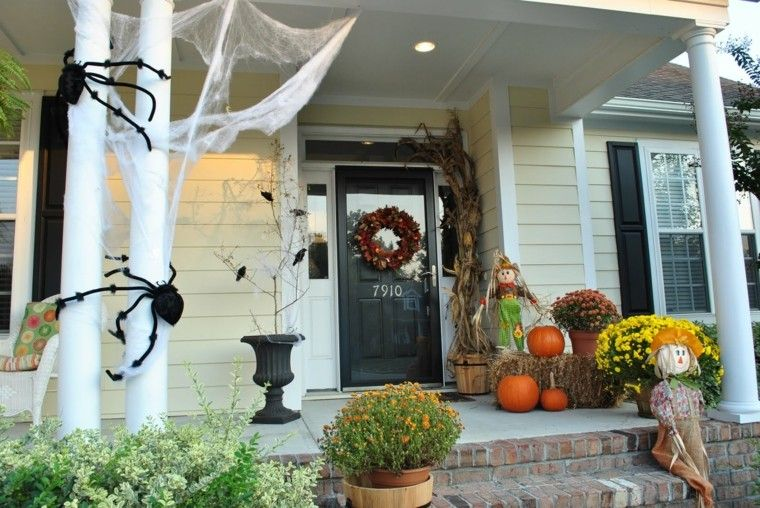 imagenes de halloween decoracion puerta murcielagos columna ideas