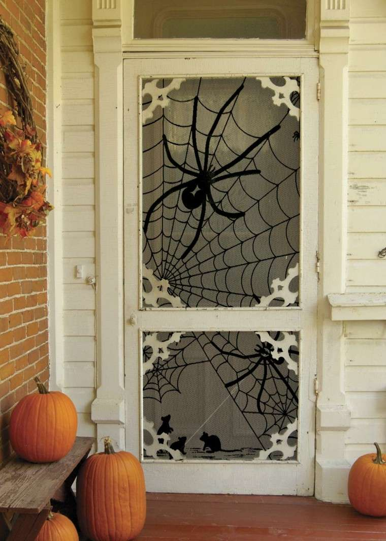 imagenes halloween decoracion puerta miedo arana calabazas ideas