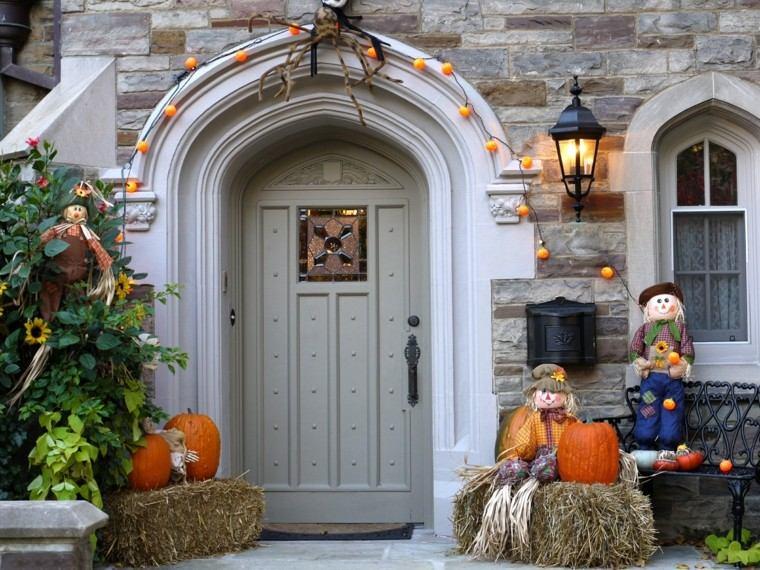 imagenes halloween decoracion puerta miedo espantapajaros ideas