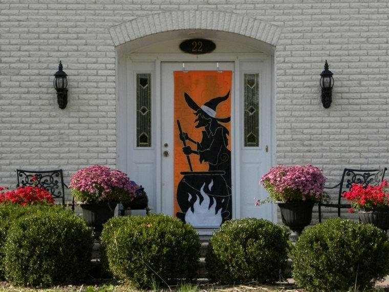 imagenes halloween decoracion puerta miedo pegatina bruja ideas