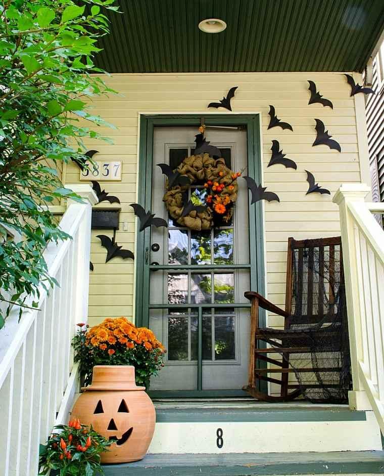 imagenes halloween decoracion puerta murcuielagos ideas