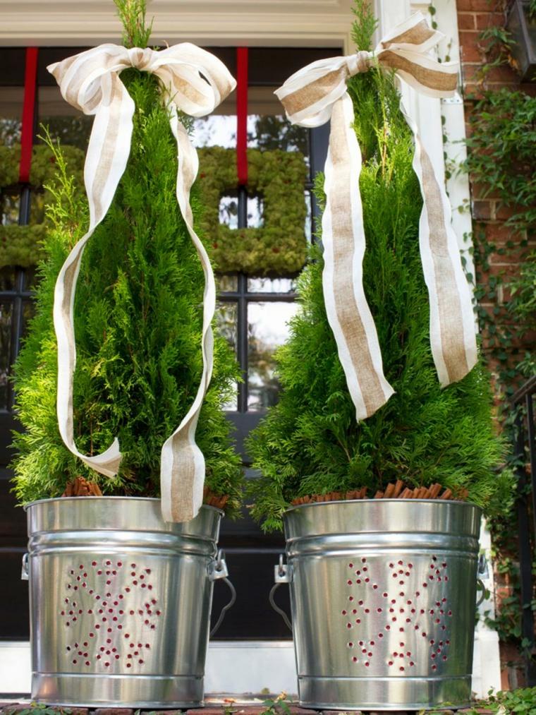 imagenes navideñas decoracion macetas cintas
