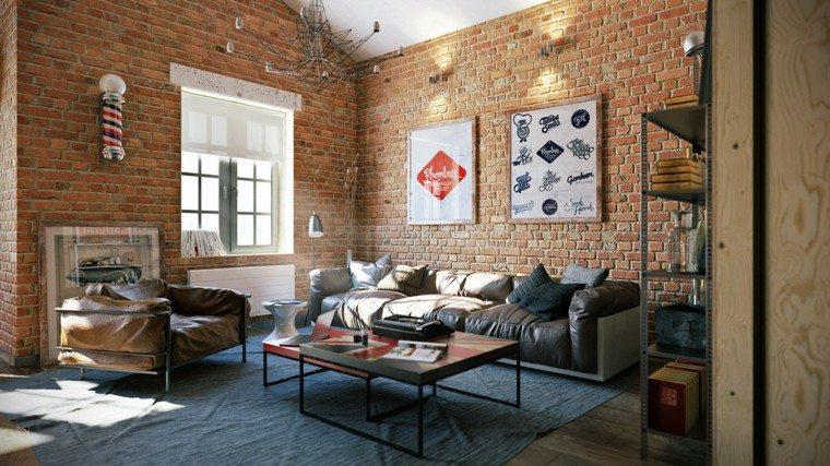 ladrillos paredes estilo estudio muebles