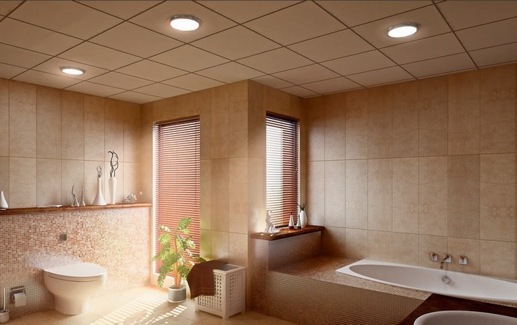 lamparas baño incrustadas techo redondas