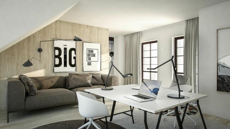 letras cuadros sillon grises mesa