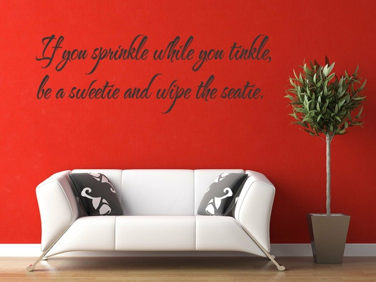 letras decorativas pared rojo salon cojines
