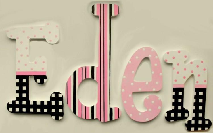 letras decorativas pared rosa infantil negro - Letras Decorativas