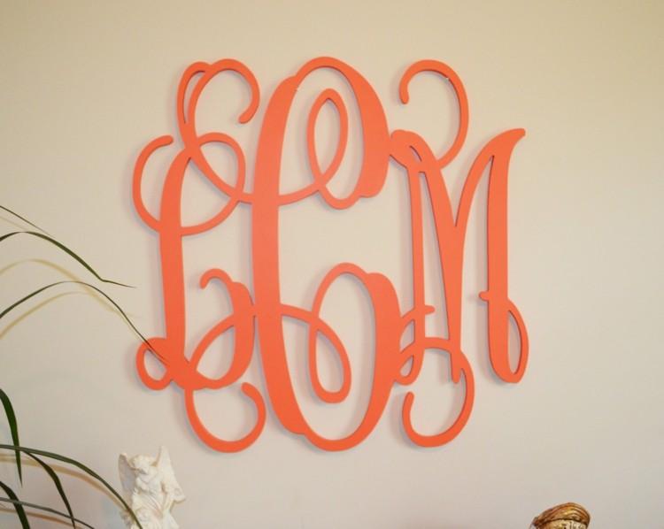 letras decorativas pared rosa naranja elegane