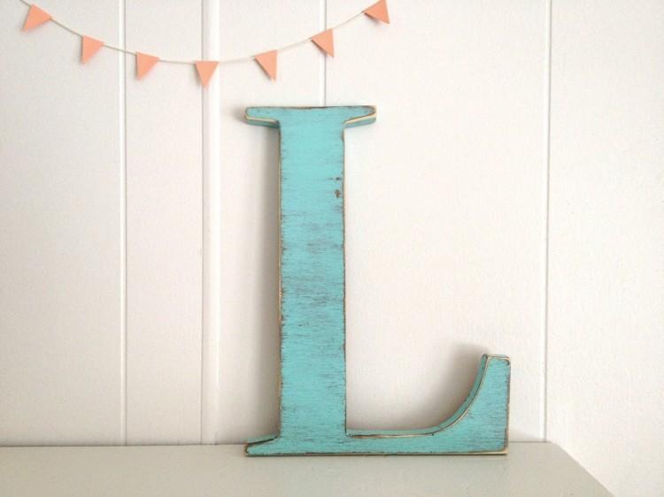 letras decorativas pared vintage azul