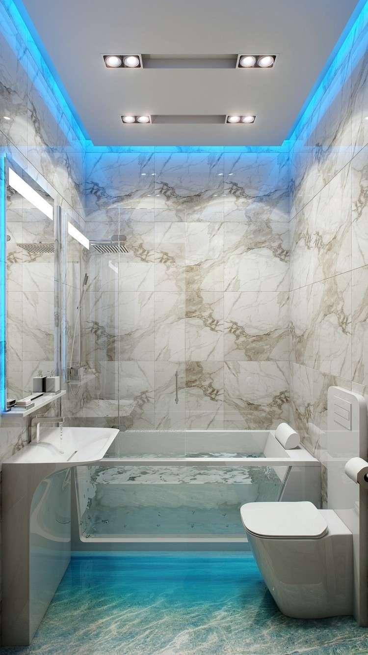 luces Led baño color azul