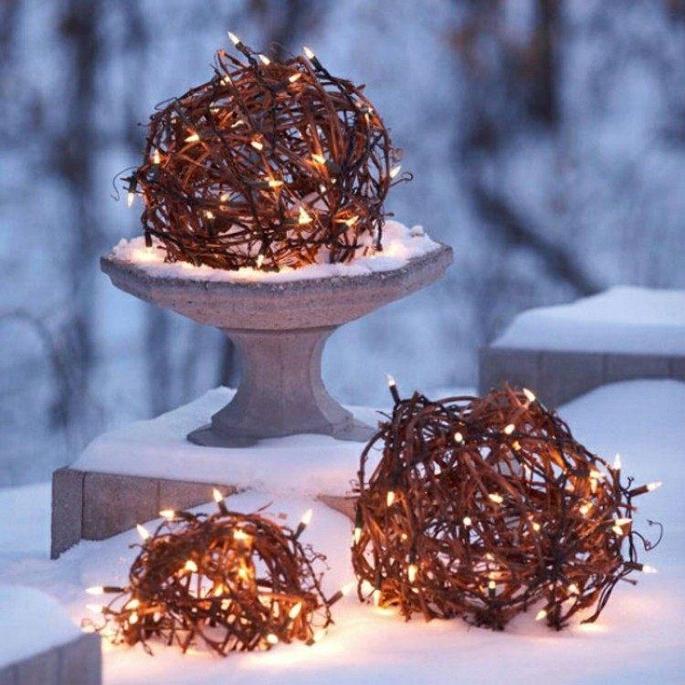 luces de navidad ideas jardines copas ramas