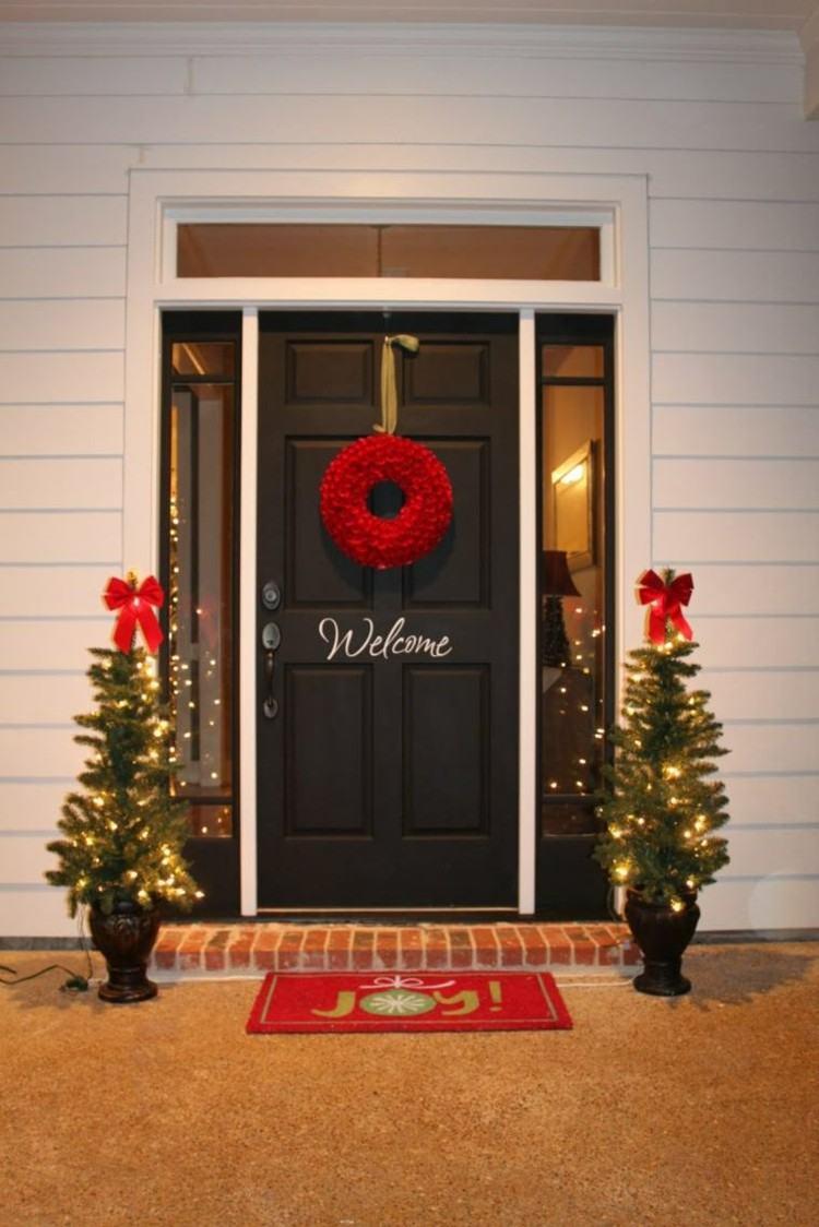 luces de navidad ideas jardines entrada corona