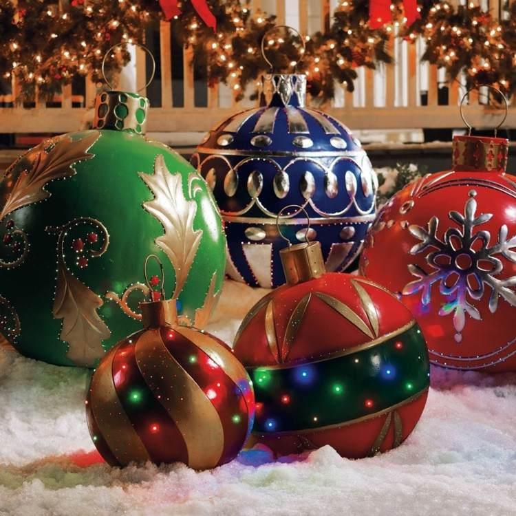 luces de navidad ideas jardines estrellas coloridas portal