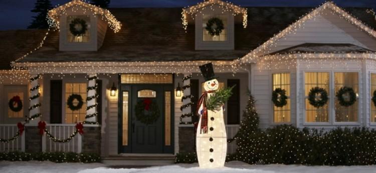 luces de navidad ideas jardines lazos diseño