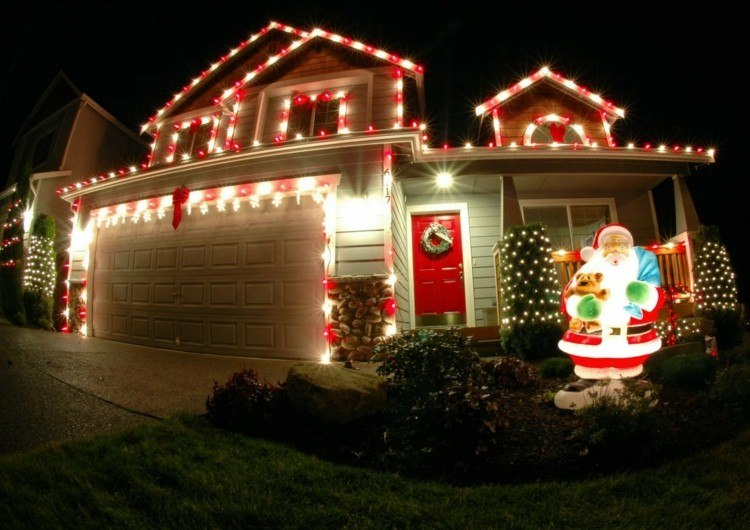 luces estilo navidad muñecos cesped