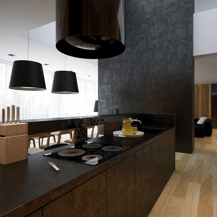 madera encimeras negro patio moderno