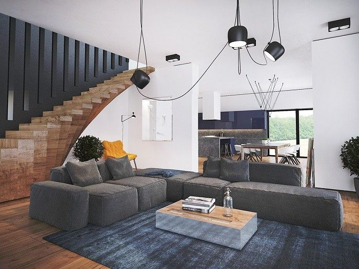 madera escalera salon sofa gris alfombra ideas