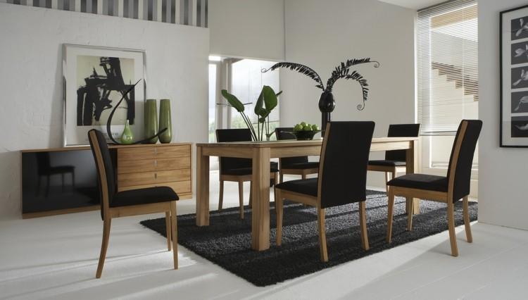 madera negro conjunto muebles comedos