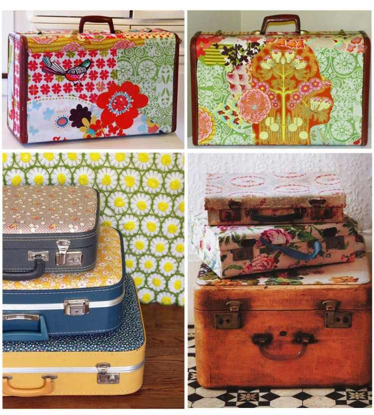 maletas vintage ideas decoracion colorido efecto