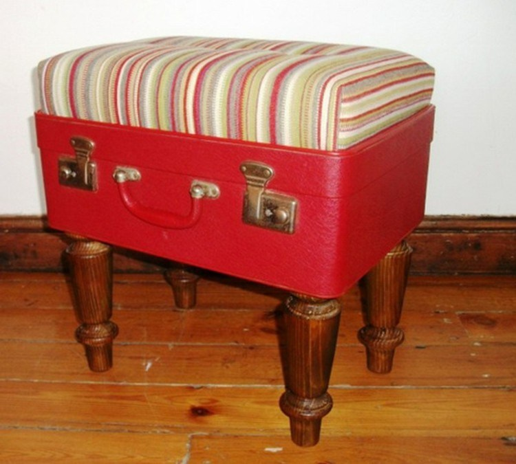 maletas vintage ideas decoracion asientos rojo
