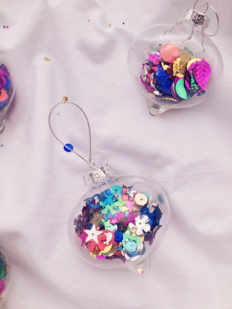 de navidad decoracion bolas llenas confeti ideas