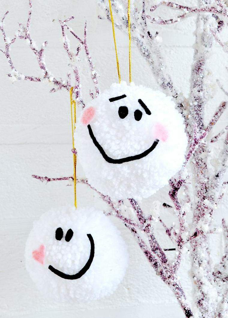 manualidades navidad decoracion bolas blancas alegres ideas