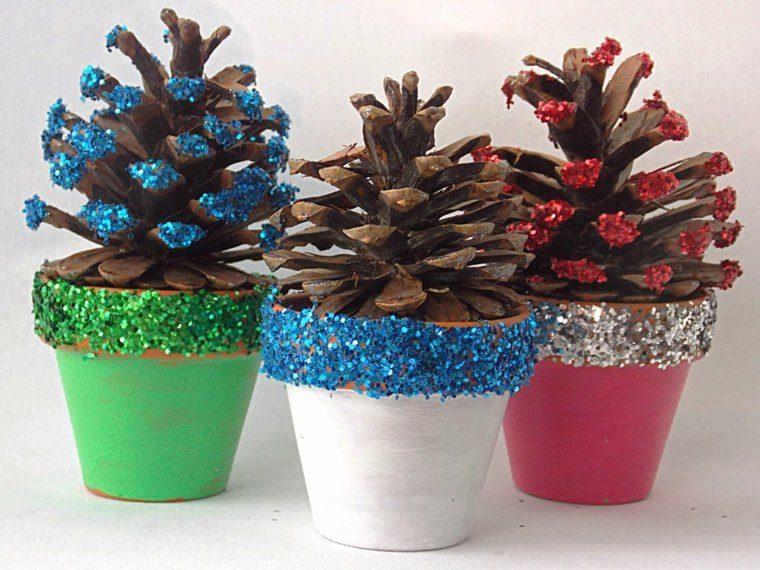 manualidades navidad decoracion macetas pinas ideas