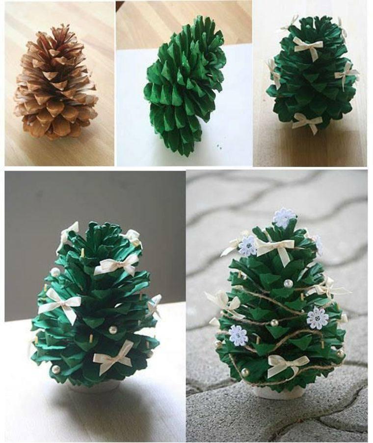 manualidades navidad decoracion pinas verdes ideas