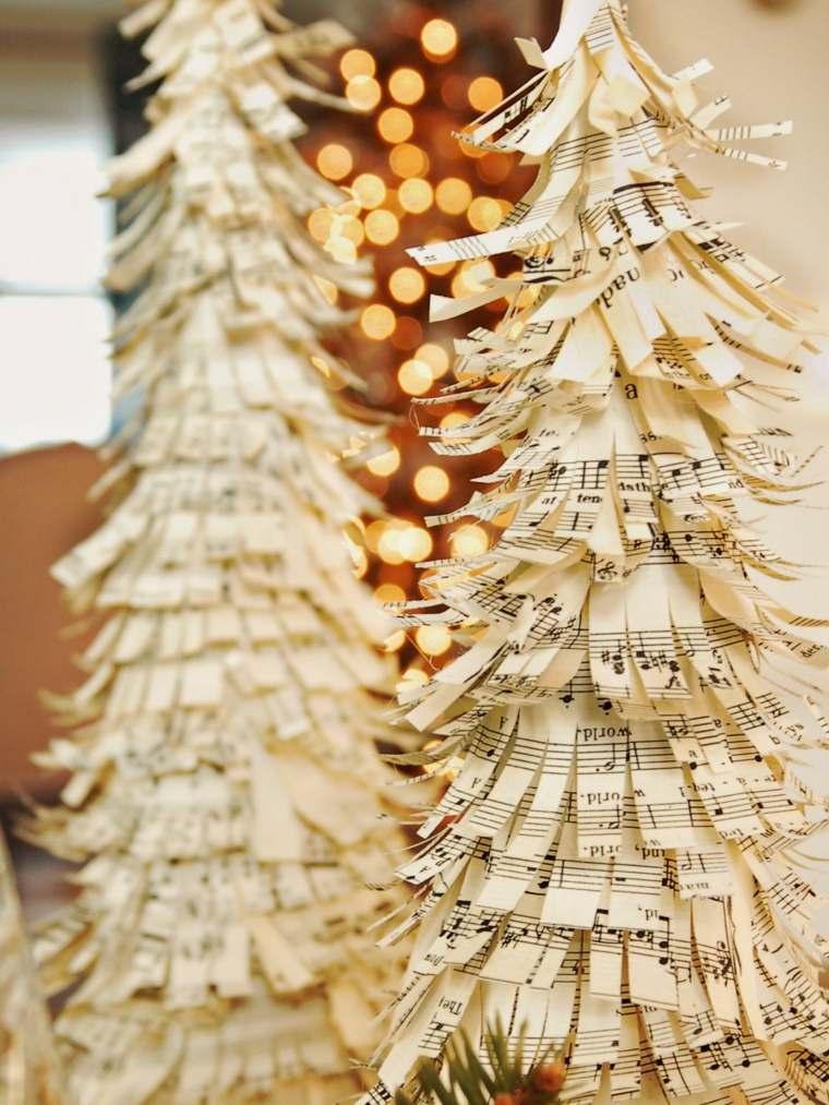 manualidades navideñas abetos papel partituras