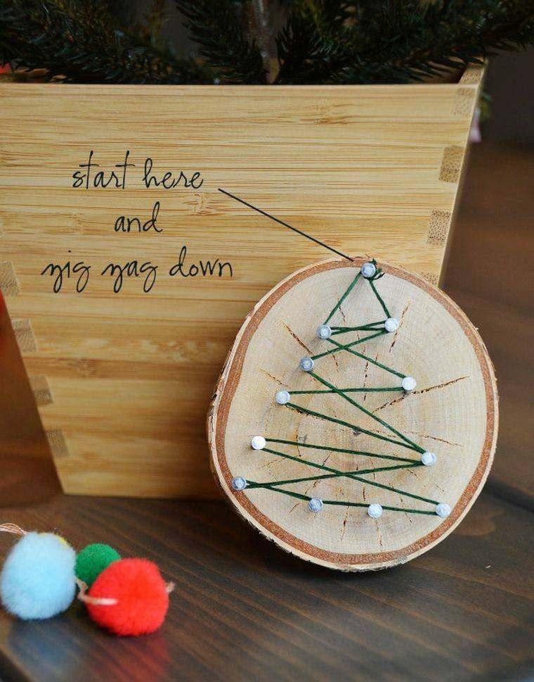 manualidades navideñas tronco ábeto hilo