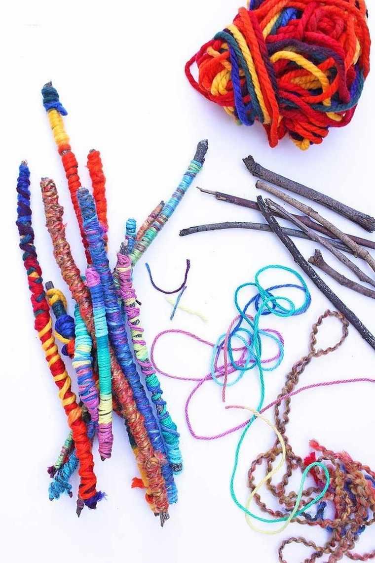 manualidades niños artesania lana palos ideas