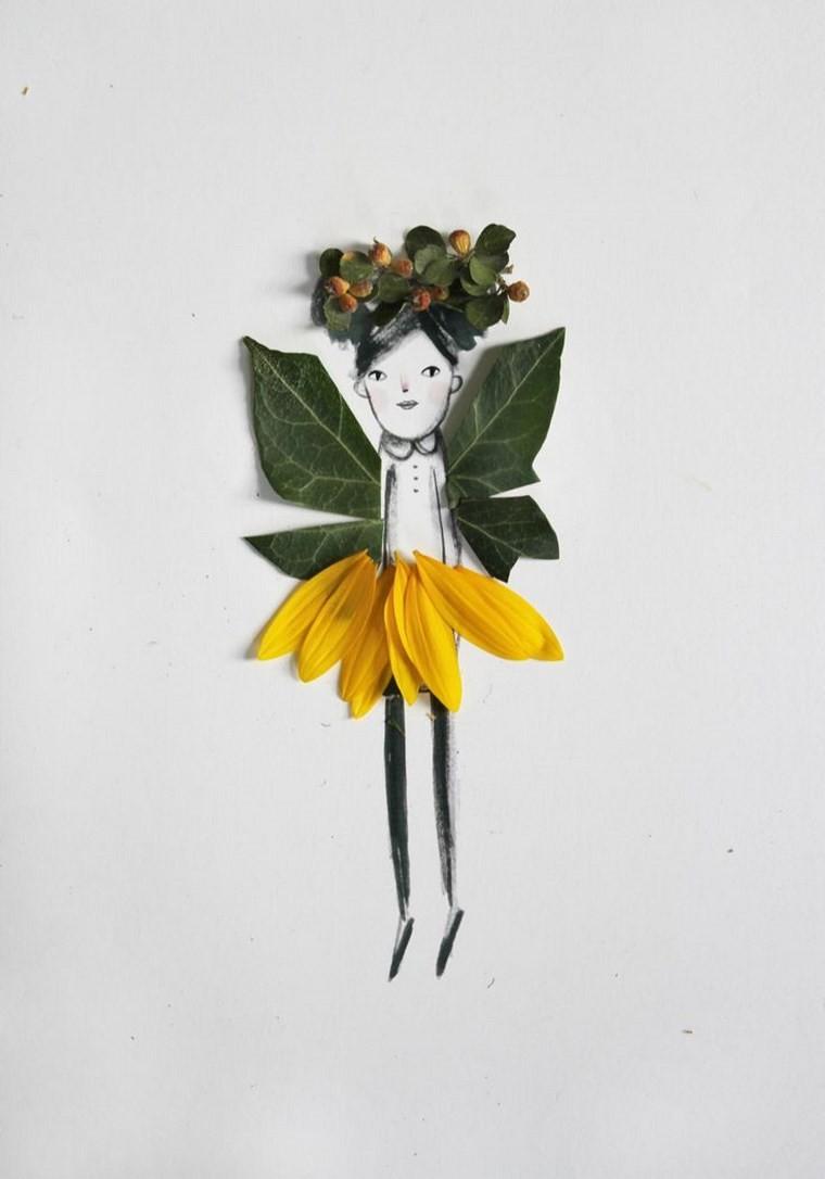 manualidades niños artesania muneca hojas ideas