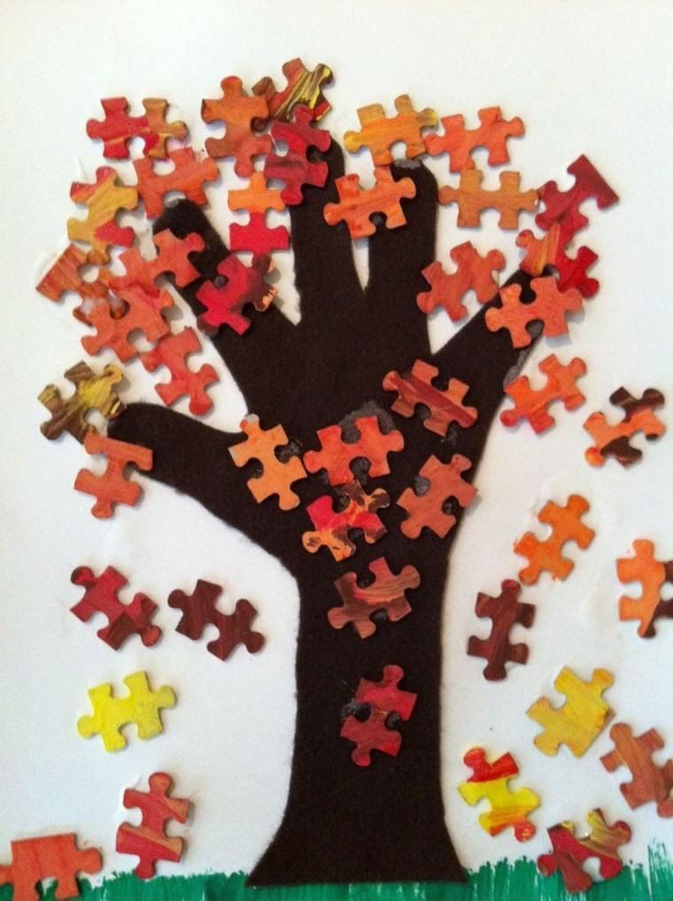 manualidades niños artesania arbol puzle ideas