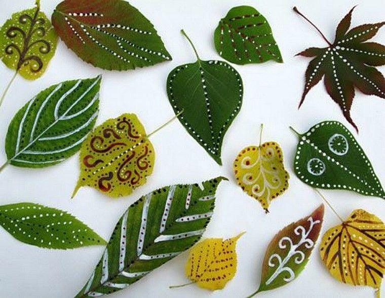 manualidades niños artesania hojas verdes ideas