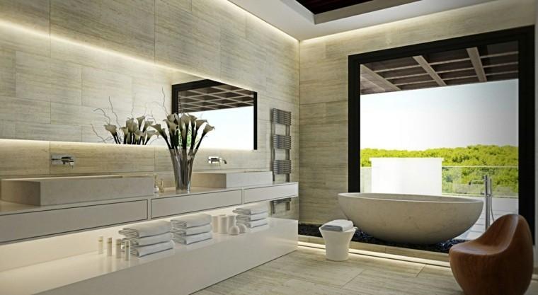 marmol sala baño flores madera