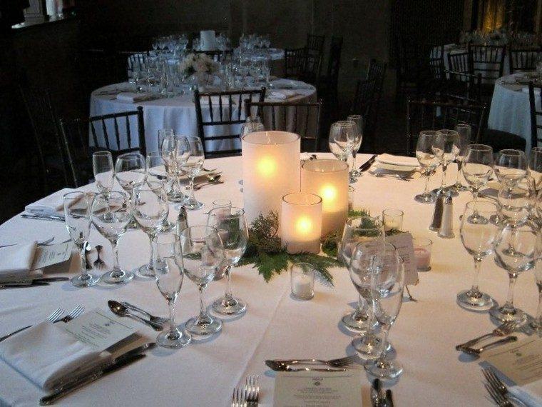 centro mesa blanca tres velas