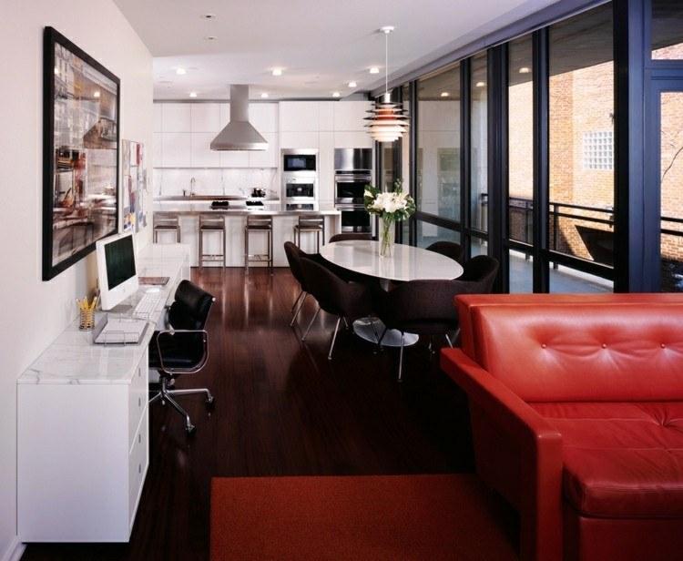mesa comedor blanca sillas marrones