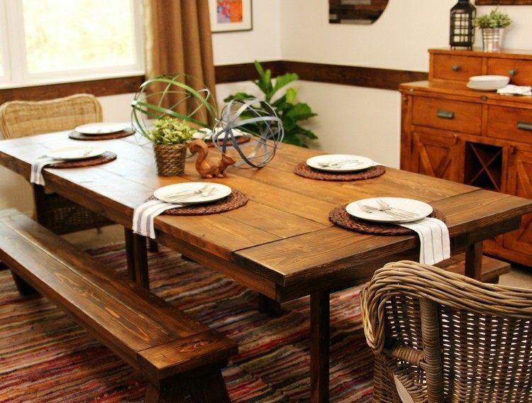 mesa comedor bancos madera