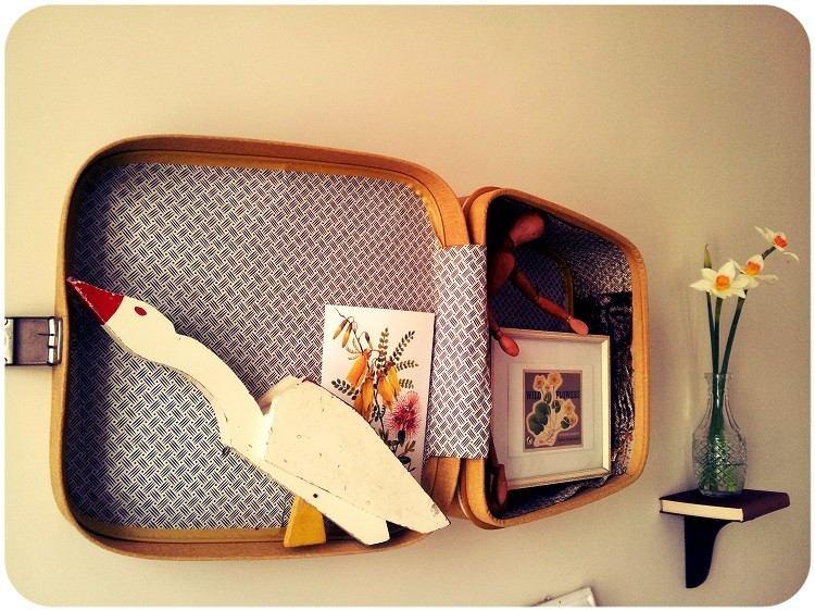 maletas vintage habitacion estilo pajaro flores