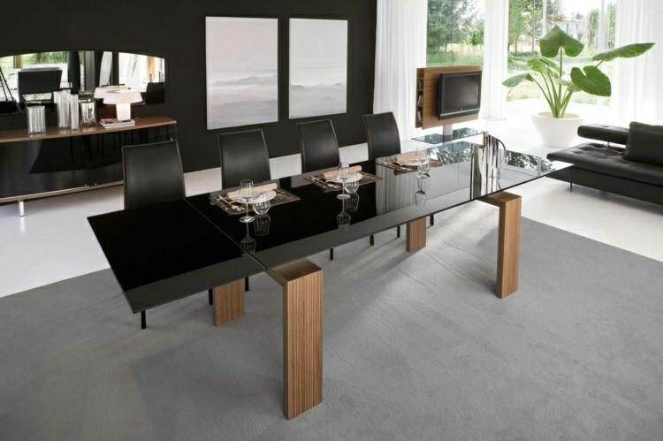 mesa negra patas madera