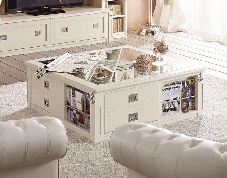 mesa salon cajones funcionales cristal
