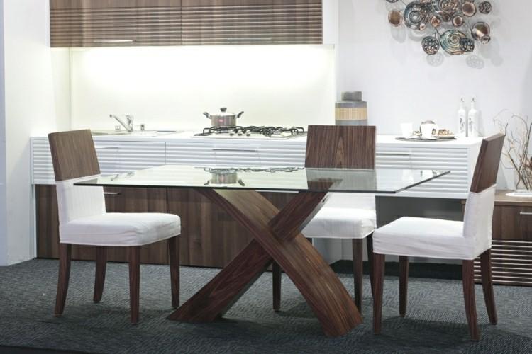 Muebles de comedor de colores oscuros 50 ideas for Comedores de madera con cristal