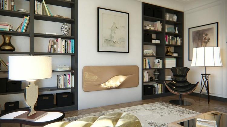 minimalista interiores casas librero libros