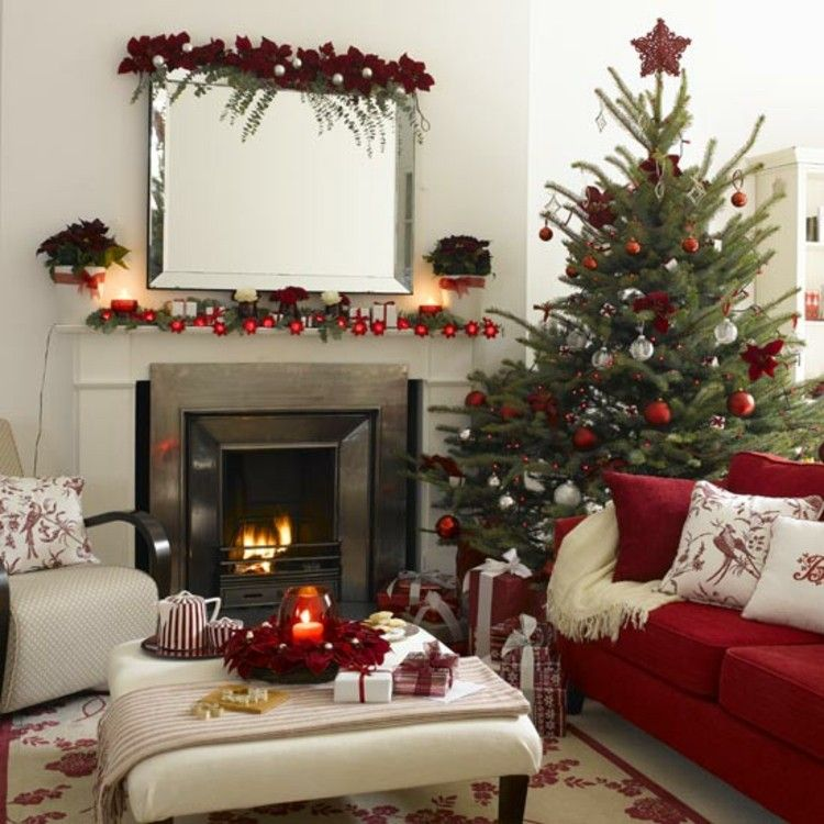 moderno blanco decoracion chimenea rojo