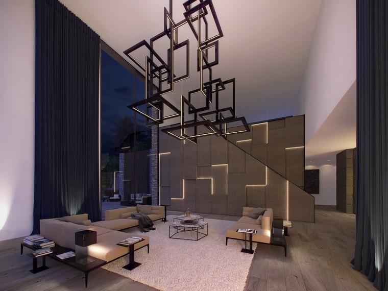 moderno estilo diseño maderas geometrico lampara